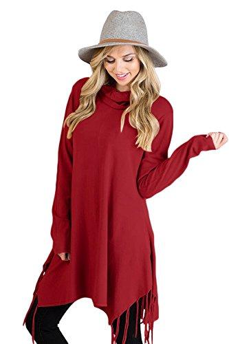 New Borgogna collo ad anello con frange a maniche lunghe pullover camicetta estate camicia top casual Wear taglia UK 8EU 36