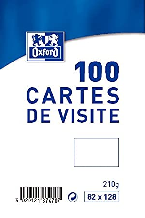 Oxford Pack De 100 Cartes Visite 82 X 128 Cm Blanc