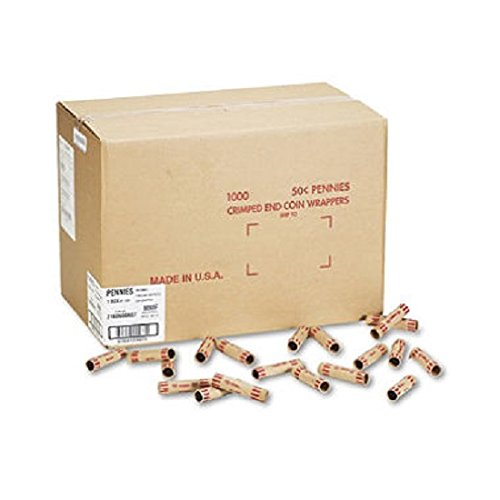 Preformed Kraft Paper Tubular Coin Wrappers, Holds 50 Pennies, Red, 1000/Box (MMF2160600A07)