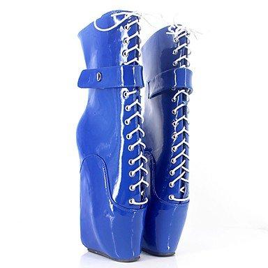 Invierno y Otoño Moda Heart Plataforma Botas Mujer Botas Azul 12 amp;M cms Más Fucsia Noche PU Fiesta de blue y Innovador q8P8x0YF