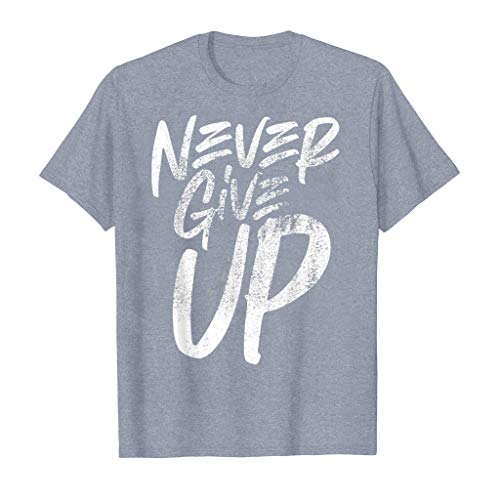 Fashion Tee Mens Never Give Up Shirts Short Sleeve Casual T-Shirt Blouse Sport Tops Gray