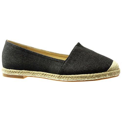 Mocasines Plano Tacón Mujer Zapatillas Slip Bordado on Cm Negro Moda Cuerda 0 Angkorly Alpargatas qTAftvA