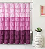 Pink Ombre Ruffle Shower Curtain VCNY Home Heavy Duty Luxurious Gypsy Ruffled Ombre Fabric Shower Curtain - Assorted Colors (Pink)
