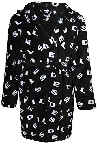Diesel Boys Ultra Plush Fleece Bathrobe with Hood, Black/White, Large'