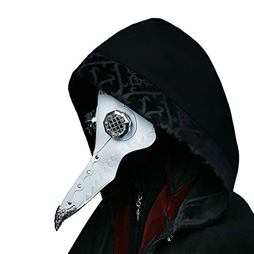 Gothic Plague Doctor Bird Mask for Men PU Leather Steampunk Retro Mask Halloween Cosplay Costume -