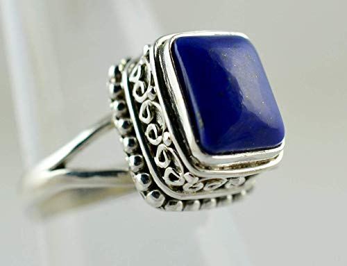 Lapis Lazuli Ring, Lapis Lazuli Silver Ring, 925 Sterling Silver, Gemstone Ring, Silver Ring, Lapis Silver Ring, Blue Ring Size 3-14 US