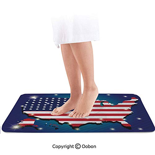 USA Map Bath Mat,Fourth of July Party Stylized Independence Day Celebration Display,Plush Bathroom Decor Mat with Non Slip Backing,32 X 20 Inches,Indigo Dark Blue Red White (Games For Independence Day Celebration In Office)