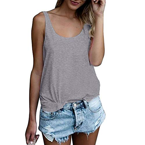 OMSJ Women Shirts Sleeveless Summer Tunic Loose Fit Tank Tops (XXL, Solid Grey) ()