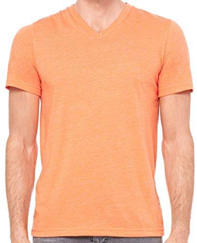 Mens Tri Blend V-Neck Tee Shirt, XL Orange Triblend
