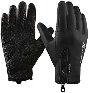 RockBros Cycling Full Finger Fleece Gloves Windproof Warm Touch Screen Gloves