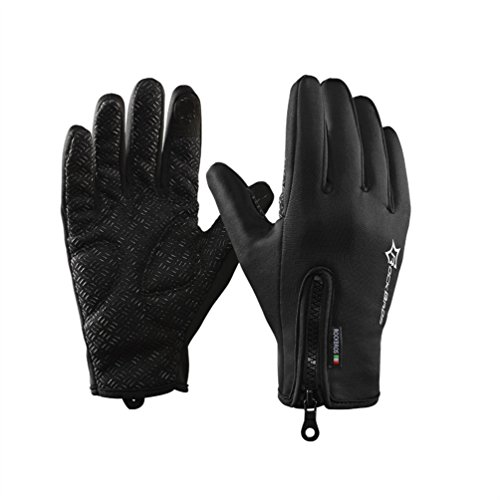 RockBros Cycling Touch Screen Gloves Winter Mountain Road Bicycle Motorcycle Fleece Gloves Black M