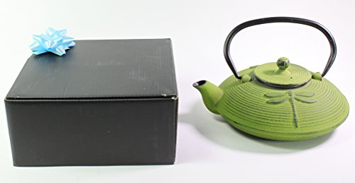 Japanese Antique 27 fl oz Green Dragonfly Cast Iron Teapot Tetsubin with Infuser Gift Bow ()