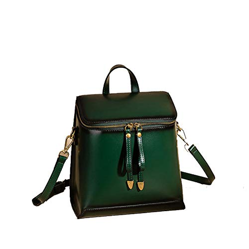 Fashion Backpack Women Simple Leather Backpack Preppy Style Girl Backpack for School Rucksack Travel,Deep Green