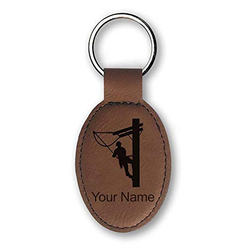Oval Keychain, Lineman, Personalized Engraving Included (Dark ()