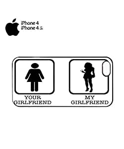Your Girlfriend My Girlfriend Cool Funny Hipster Swag Mobile Phone Case Back Cover Funda Negro Blanc Para for iPhone 4&4s White