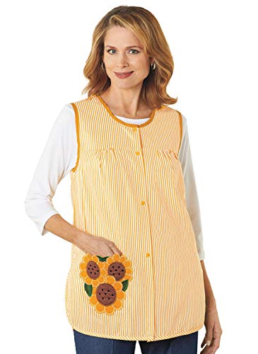 Cobbler Smock - Cobbler Apron for Women with Pockets Snap Front | Craft Apron for Adults with Pockets | Cobbler Smock Apron, Color Sunflower, Size Extra Large (1X), Sunflower, Size Extra Large (1X)