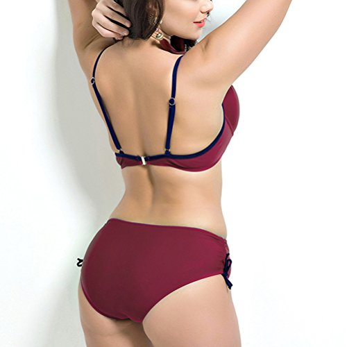 Zhuhaitf Alta calidad Adult Women Two pieces Solid color Plus Size Elastic Bikini Swimsuit Swimwear Dark Red