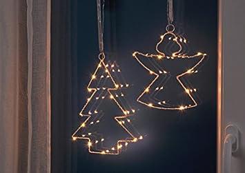 Weihnachtsbeleuchtung Engel.2er Set Fenster Dekoration Led Beleuchtung Tannenbaum Und Engel