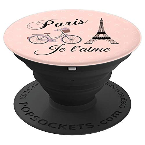 Paris, je t'aime Cute Boho Bicycle Eiffel Tower Gift Rose - PopSockets Grip and Stand for Phones and Tablets