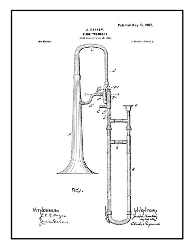 Slide Trombone Patent Print Art Poster Black Ink on White with Border (20' x 24') M10077