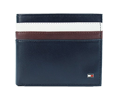 Leather Double Billfold (New Tommy Hilfiger Men's Leather Double Billfold Passcase Wallet & Valet (Navy))
