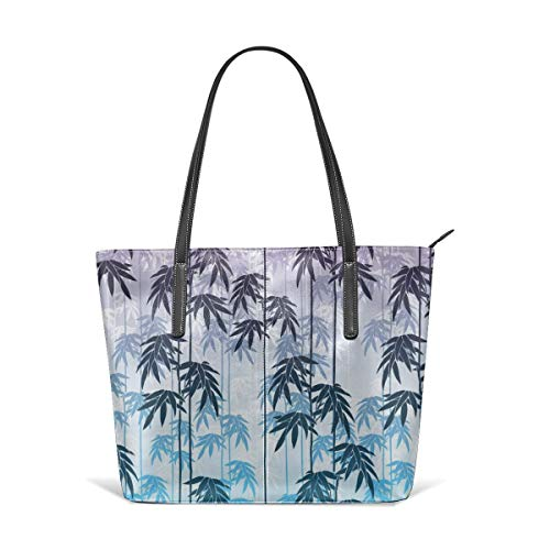 Women's Leather Tote Handbag Unique Floral Bamboo Printing Shoulder Bag Handle Handbags