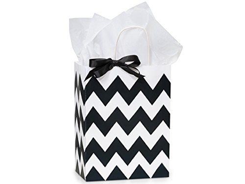 Pack Of 25, Cub 8.25 X 4.75 X 10.5'' Chevron Stripe Black Recycled White Shopping Bags W/White Paper Twist Handles Made In USA