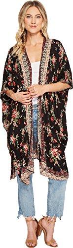 Angie Womens Open Front Dolman Sleeve Printed Kimono Black 1 Small