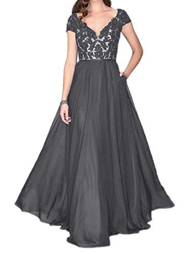 La mia Brau Elegant Lang Satin Abendkleider Ballkleider Partykleider Jugendweihe  Kleider Brautjungfernkleider mit Kurzarm Grau HJS7MhZTS 4fc104863e