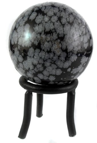 Universal Energy Sphere with Black Iron Stand (Snowflake Obsidian Stone Crystal Ball) ()