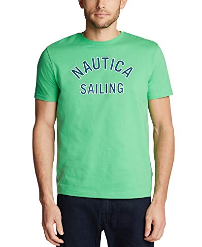 Nautica Men's Short Sleeve 100% Cotton Classic Logo Series Graphic Tee, Summer Green, XX-Large