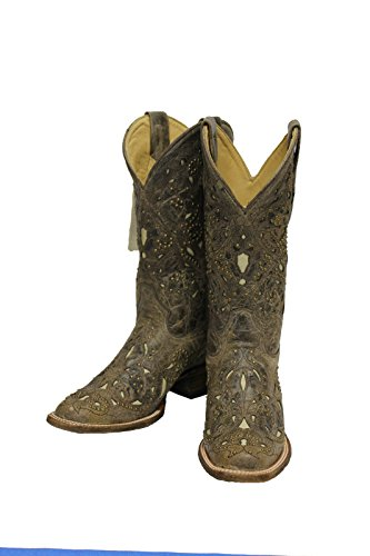 CORRAL Women's Studded Bone Inlay Crater Cowgirl Boot Square Toe Brown