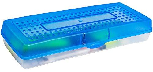 Storex Stretch Pencil Box, 5.6 x 13.4 x 2.52 Inches, Blue, Case of 12 (61467U12C) by Storex (Image #2)