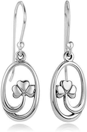 925 Sterling Silver Open Four Leaf Clover, Symbol of Good luck, Oval Shape Dangle Hook Earrings 1.2