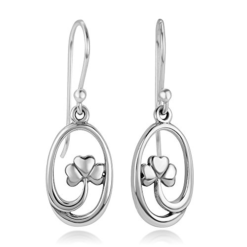Shape Dangling Oval Ring (925 Sterling Silver Open Four Leaf Clover, Symbol of Good luck, Oval Shape Dangle Hook Earrings 1.2