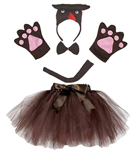 (Petitebella 3D Brown Owl Headband Bowtie Tail Gloves Tutu 5pc Children Costume (One)