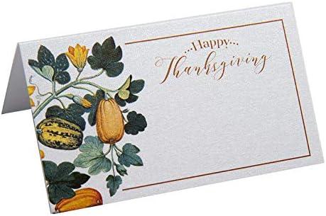 Juego de 24 tarjetas de agradecimiento, decoración de mesa de Acción de Gracias, decoración de mesa de Acción de Gracias, calabaza, color índigo: Amazon.es: Hogar