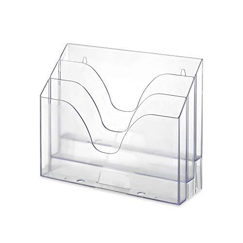WALEU Horizontal Triple File Folder Organizer Clear Crystal