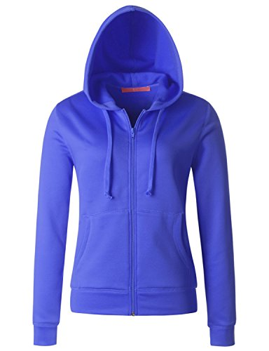 Regna X Love Coated Women Casual Zip-up Hoodie Basic Long Sleeve Blue Navy Small