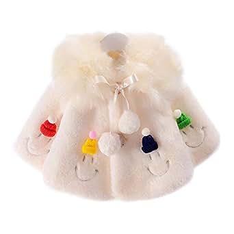 XFentech Baby Girls Cute Cloak - Autumn Winter Warm Coats Jackets Outerwear Age of 3-7, Beige/70