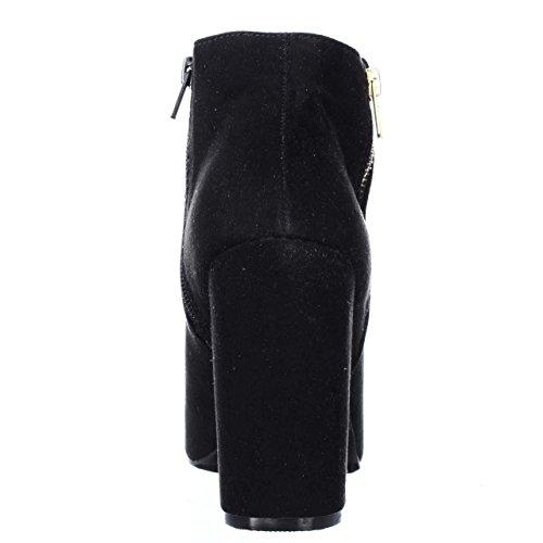 Material Girl Mg35 Carena Peep Toe Botines De Doble Cremallera - Negro