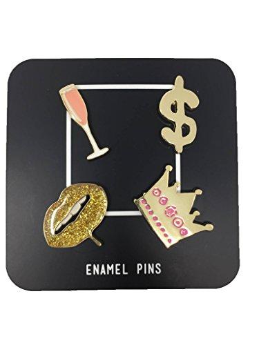 Set of Four Enamel Trendy Hipster Lapel Pins (Living it - Trendy Hipster