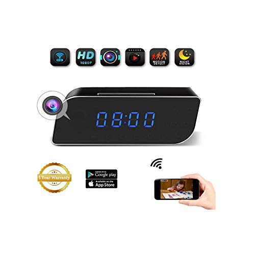Cheap JLRKENG Wi-Fi HD1080P Small Hidden Spy Wireless Camera Desk Clock Recorder with 2200mAh Battery Motion Detection and Alarm Notification Real-time Monitoring for Both Android and iOS