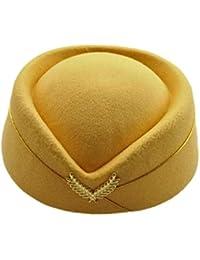 8c9e5ec0075 2019 Wool Felt Pillbox Air Hostesses Beret Hat Base Cap Airline Stewardess  Sexy Formal Uniform Hats