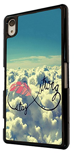 Cool Sky Clouds Stay Strong infinity Sign Design Sony Xperia Z4 Fashion Trend Case Back Cover Metal and Hard Plastic Case