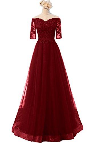 Abendkleider Brautmutterkleider Gruen Prinzess Spitze Promkleider Kurzarm A Schulterfrei Burgundy Braut linie mia La 01WzYSRS