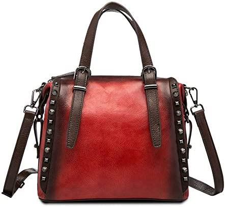 バッグ - トップレイヤー牛革/ポリエステル、レトロスタイルのパンクレディースハンドバッグ、ショルダーバッグ/ショルダーバッグ、大容量/ソフト/ウェアラブル(26x12x22cm) よくできた (Color : Red)