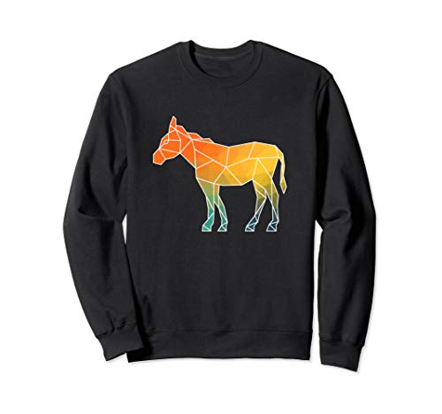 Donkey Outline Polygons Watercolor Silhouette Sweatshirt (Donkey Outline)