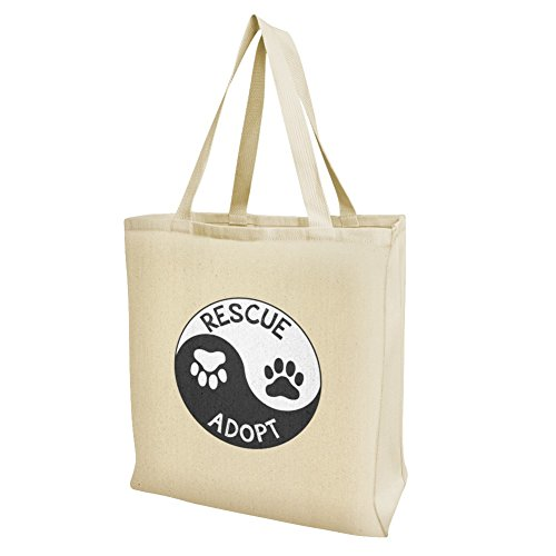 Rescue Adopt Yin Yang Paw Prints Dogs Cats Grocery Travel Reusable Tote Bag - Large