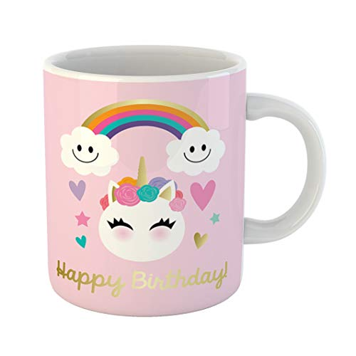 Emvency 11 Ounces Coffee Mug Pink Happy Unicorn Emoticon Birthday Cloud Cute Fairy Tale Flower White Ceramic Glossy Tea Cup gift